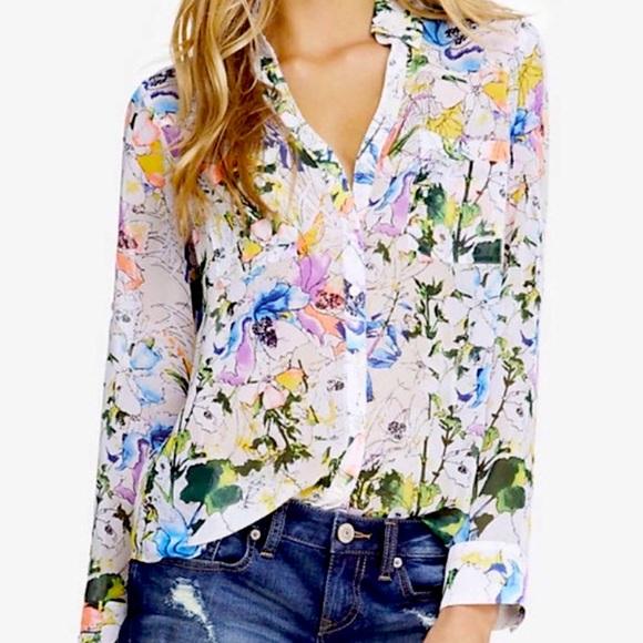 Express Portofino Watercolor Floral Print Shirt